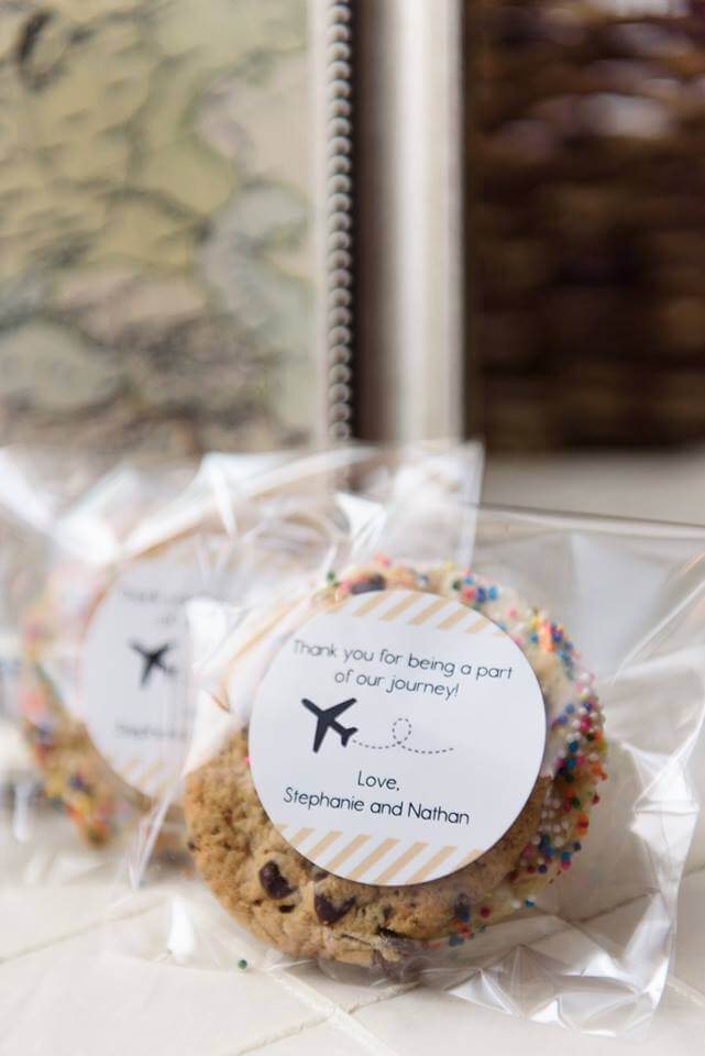 homemade chocolate chip cookies and a carton of milk make a great wedding favor for guest to enjoy on the way home