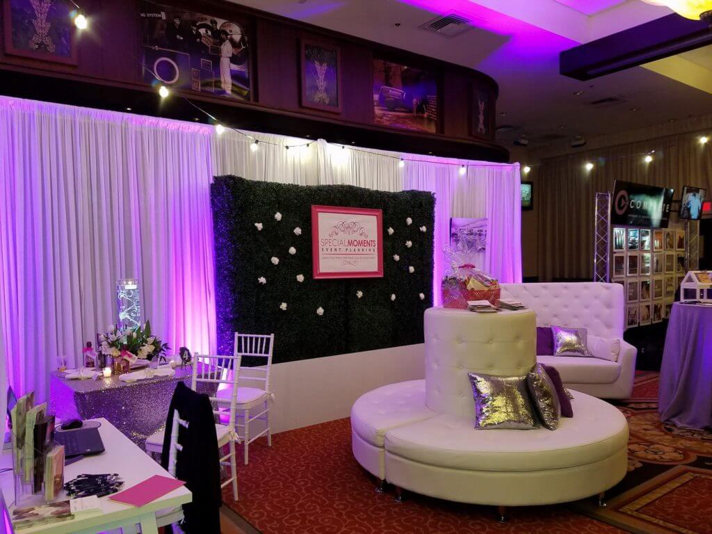 Special Moments Event Planning - TPepin's Hospitality Center - Tampa Wedding - Bridal Show - purple wedding - wedding lounge furniture