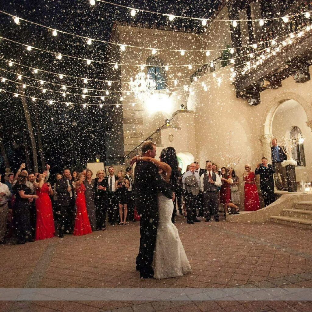 special moments event planning - central florida wedding planner - outdoor wedding reception - wedding market lights- first dance - snow machine