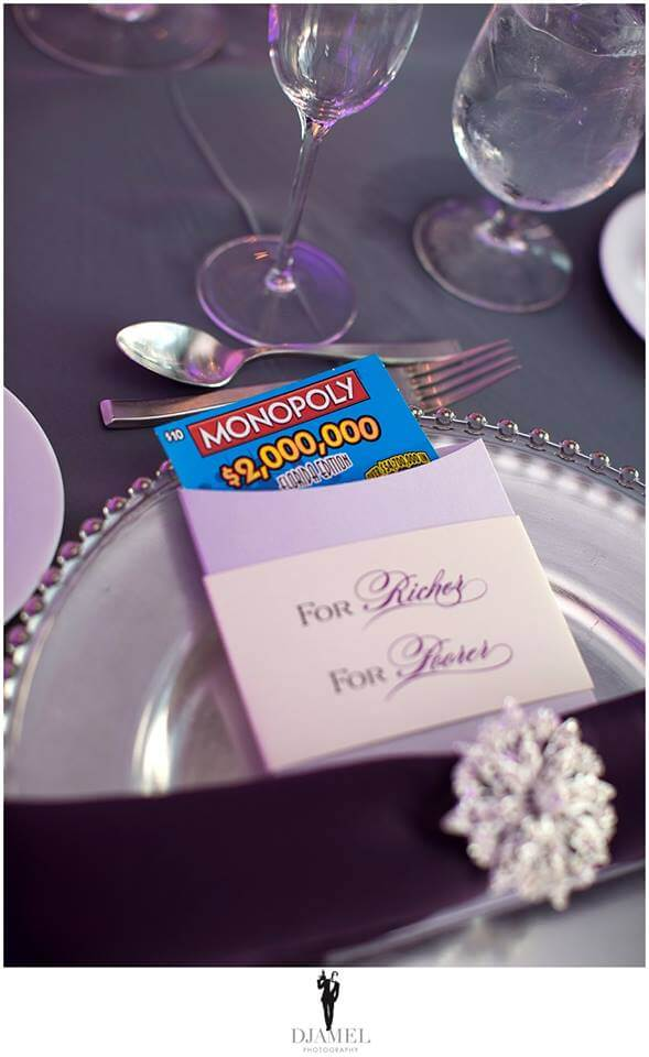 Scratch off lottery tickets make a great fun wedding favor for your guests