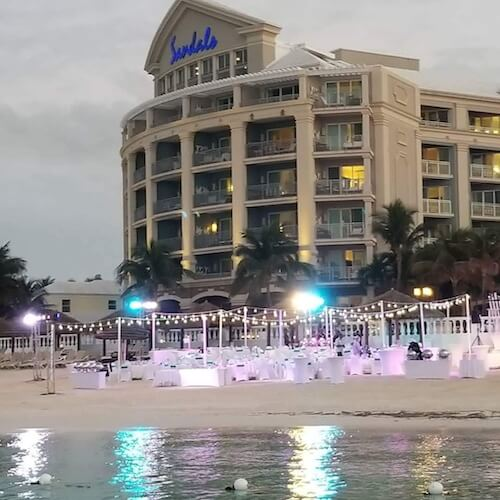 special moments event planning - destination weddings- sandals grand bahamian resort- beach wedding reception-