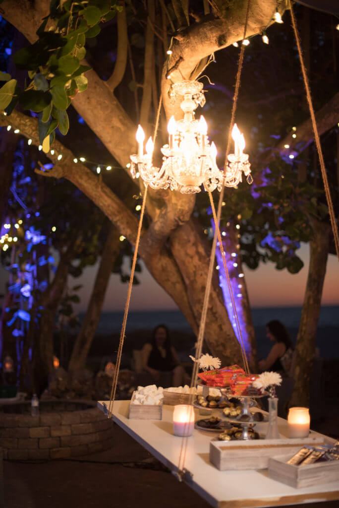 special moments event planning - outdoor wedding reception- unique wedding ideas - wedding decor - crystal chandelier - hanging dessert station
