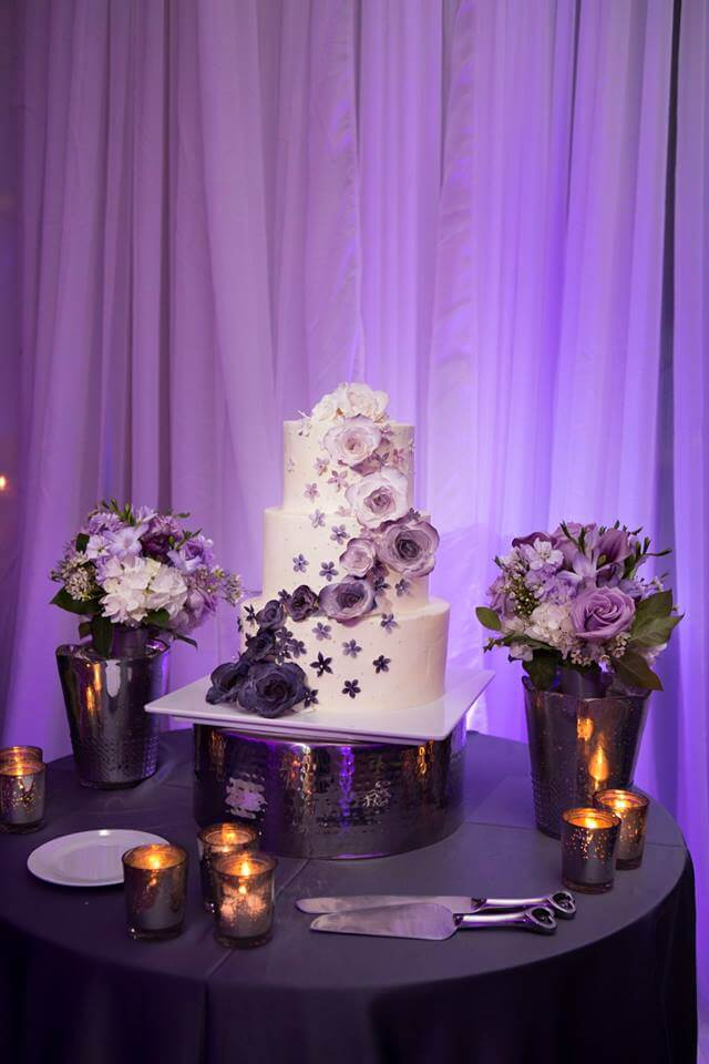 special moments event planning - purple wedding- purple uplighting- wedding cake with purple flowers- purple ombre wedding cake