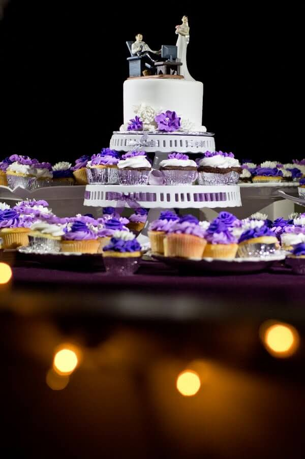 custom cake topper - wedding cupcakes - purple wedding cake