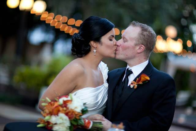 bride and groom - first kiss - Tampa wedding