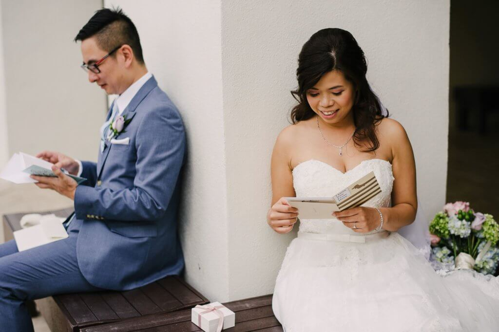 Tampa asian wedding - bride and groom - first look