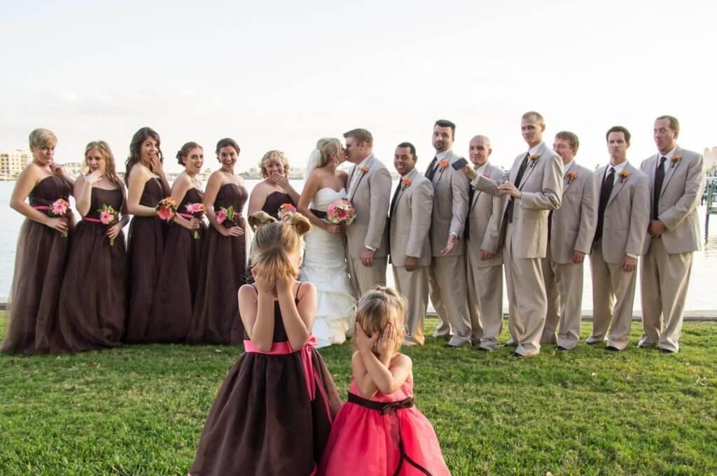 Tampa wedding - wedding party photos- bride and groom kissing