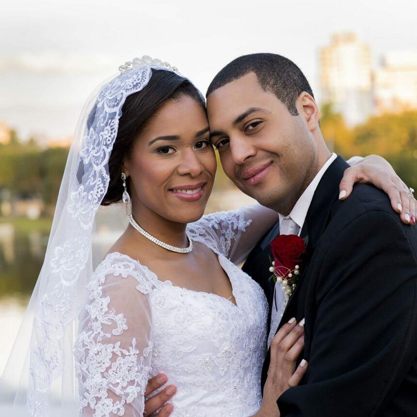 essence magazine - bride and groom - bride wearing a mantilla