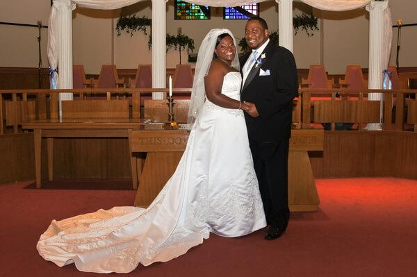 plus size bride - pretty pear bride - bride and groom