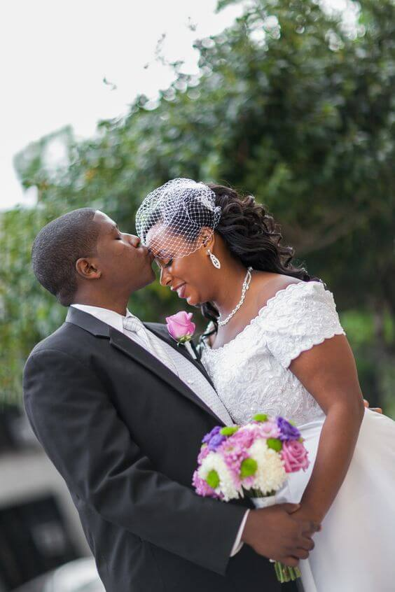bride and groom - bride with a fascinator