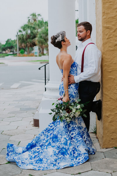 St Petersburg wedding planner – events by special moments – gulf coast wedding planner -blue wedding gown - red and white bridal bouquet