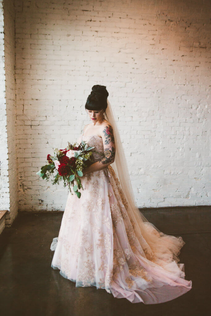 Events by special moments- Florida wedding planner- tattooed wedding – rose gold- vegetarian wedding -- tattooed bride - blush wedding gown