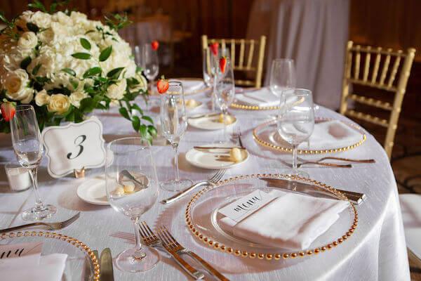 Clearwater beach weddings – clearwater beach Jewish wedding – Sandpearl Resort weddings - gold rim charger plates