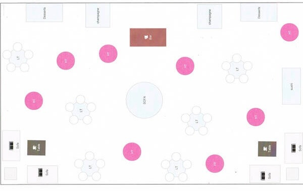 Special Moments Event Planning - 15th anniversary party - tent diagram