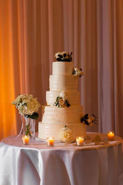 Clearwater beach weddings – clearwater beach Jewish wedding – Sandpearl Resort weddings - five tiered white wedding cake - buttercream wedding cake
