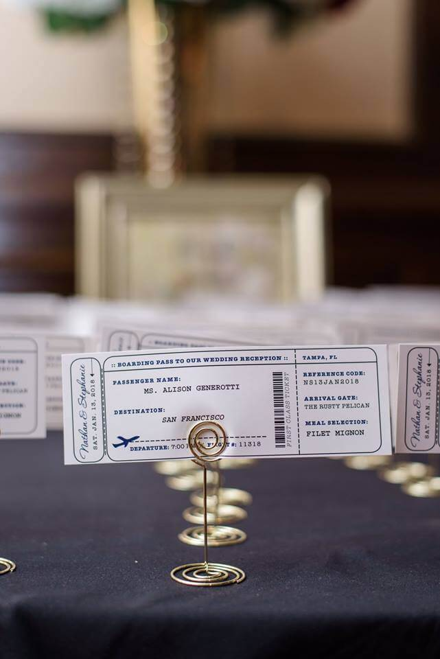 Events by special moments – tammy waterman- master wedding planner – Tampa wedding planner – most asked wedding planning questions-boarding pass escort cards