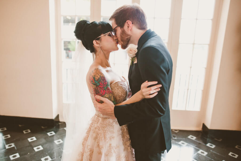 Events by special moments- Florida wedding planner- tattooed wedding – rose gold- vegetarian wedding - bride and groom