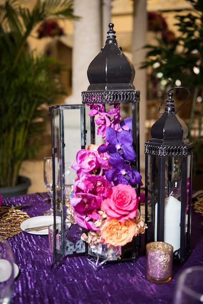 Events by special moments – Tampa Wedding Planner – Special Moments Event Planning – Avila Country Club – Moroccan Wedding- brightly colored centerpieces