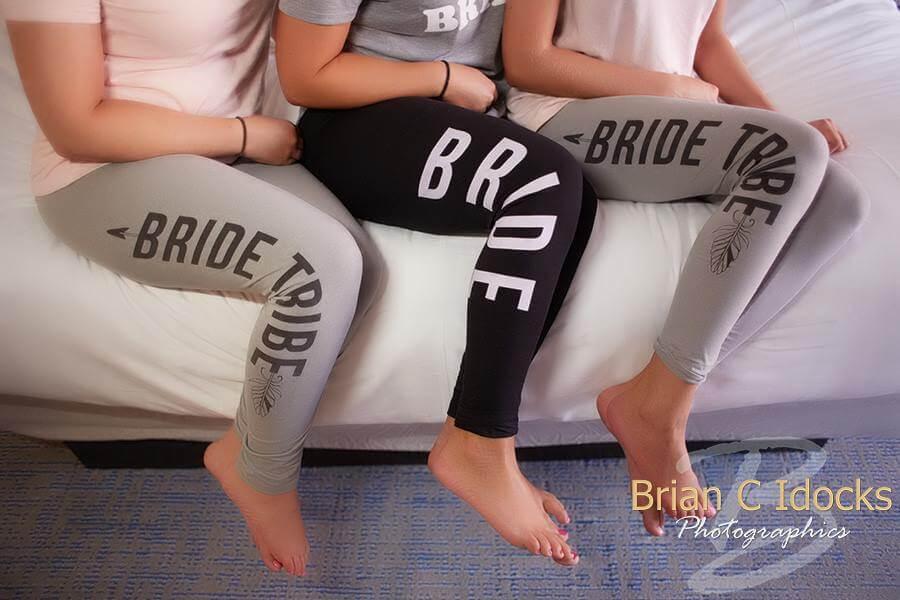 bride yoga pants- bride tribe yoga pants - wedding ready room- clearwater beach wedding