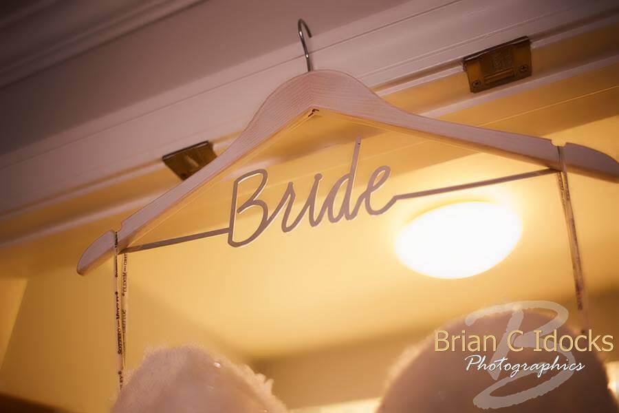 wedding gown hanger with Bride on it - clearwater beach destination wedding - bride - wedding details