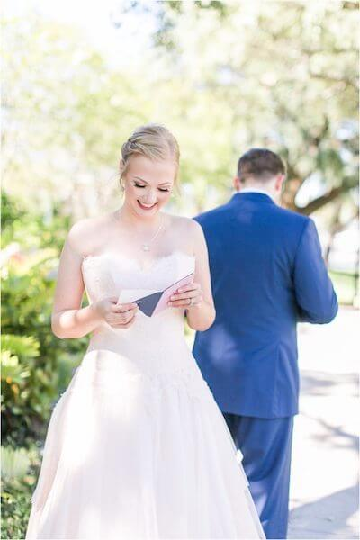 Special Moments Event Planning – Tampa Wedding Planner – Davis Island Garden Club – Davis Island Garden Club Wedding -bride reading note from groom