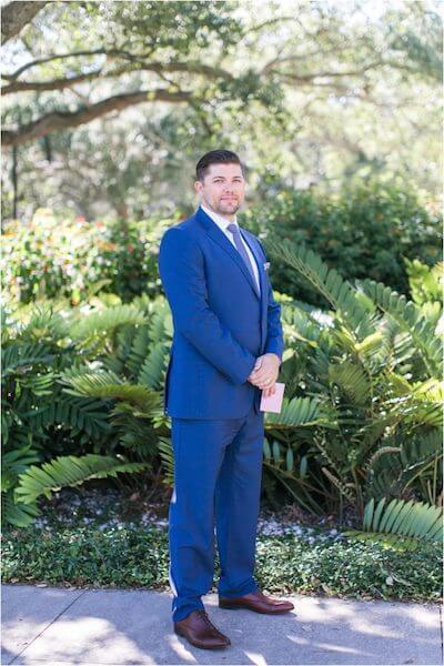 Special Moments Event Planning – Tampa Wedding Planner – Davis Island Garden Club – Davis Island Garden Club Wedding - groom - groom in blue suit