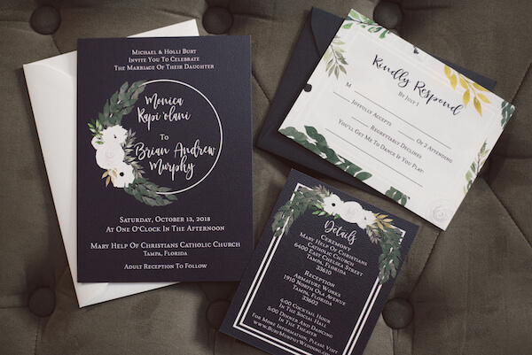 Special Moments Event Planning – Tampa Wedding Planner – Tampa Bay Wedding Planner- Tampa Wedding – Armature Works wedding - black invitation suite