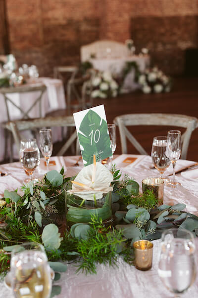 Special Moments Event Planning – Tampa Wedding Planner – Tampa Bay Wedding Planner- Tampa Wedding – Armature Works wedding - tropical tablescape