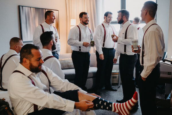 St Petersburg wedding planner – events by special moments – gulf coast wedding planner -groomsmen- red white and blue socks