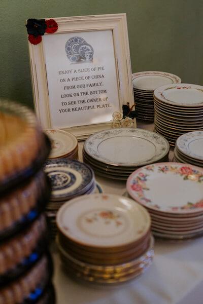 St Petersburg wedding planner – events by special moments – gulf coast wedding planner - pie bar- vintage dessert plates
