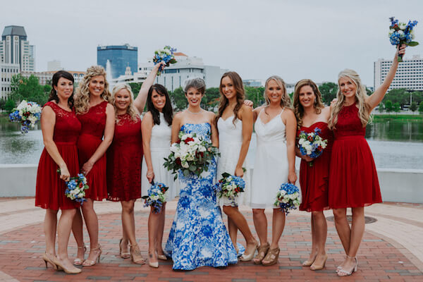 St Petersburg wedding planner – events by special moments – gulf coast wedding planner -red bridesmaids dresses