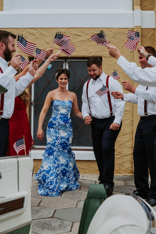 St Petersburg wedding planner – events by special moments – gulf coast wedding planner - red white and blue wedding- grand exit