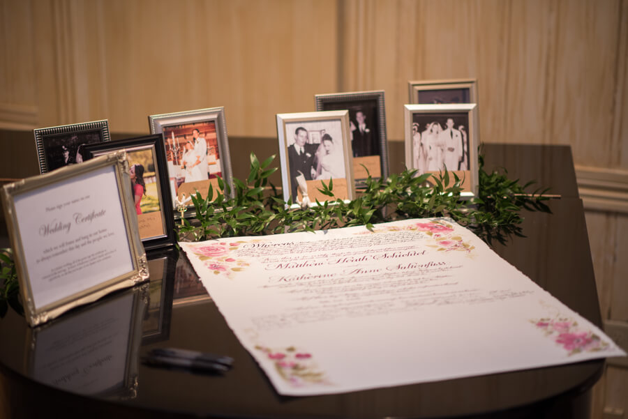 family photos at wedding reception - marriage certificate - Quaker Marriage certificate - Special Moments Event Planning