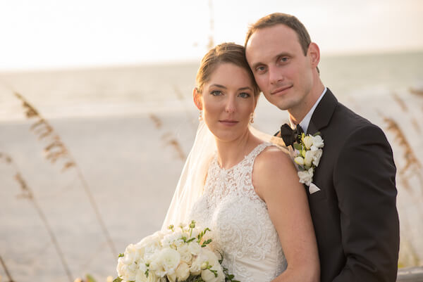 bride and groom on Clearwater Beach - Clearwater Beach wedding - events by special moments