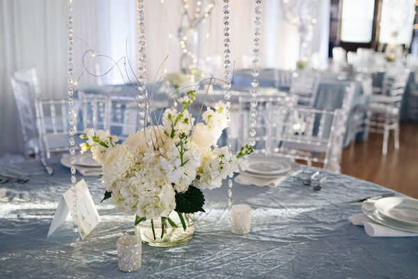 Tampa wedding – downtown Tampa wedding – Sacred Heart Tampa wedding – The Hip Room Wedding - Tampa Wedding planner - white and crystal centerpieces