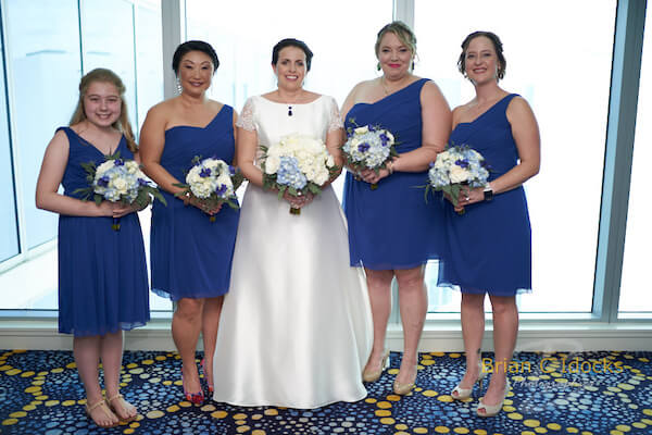 Opal Sands Wedding- Clearwater Beach Weddings – Clearwater Beach Wedding Planner - bridal party -blue tea length bridesmaids dresses
