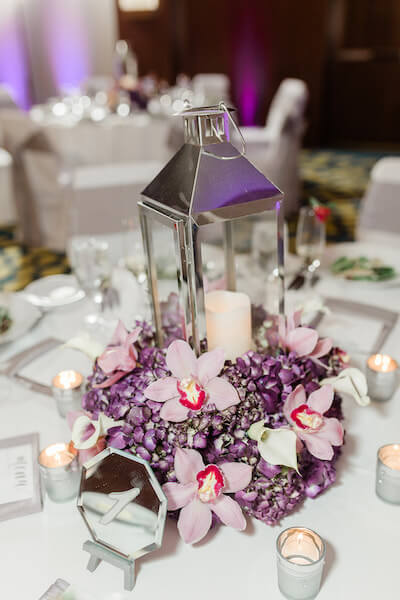 Opal Sands Wedding – Clearwater Beach Wedding – purple and white wedding- chrome lantern wedding centerpiece