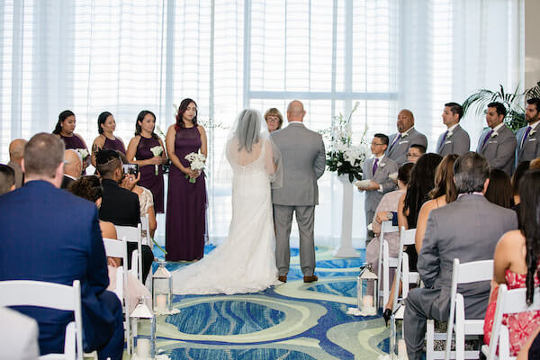 Opal Sands Wedding – Clearwater Beach Wedding – purple and white wedding- indoor wedding ceremony