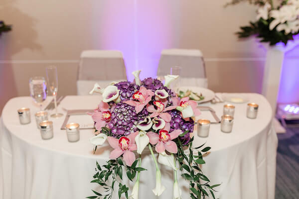 Opal Sands Wedding – Clearwater Beach Wedding – purple and white wedding- sweetheart table