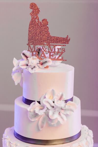 Opal Sands Wedding – Clearwater Beach Wedding – purple and white wedding-wedding cake - cake topper