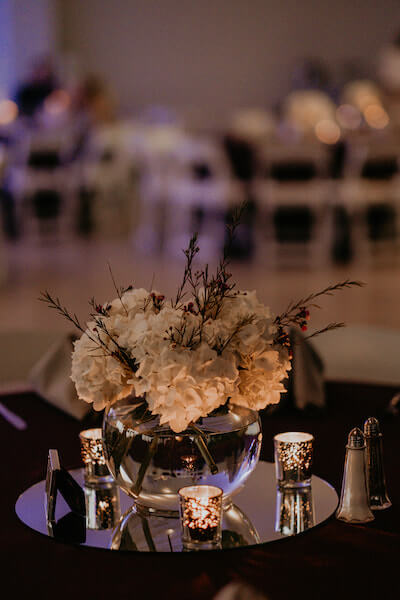 Clearwater Beach Wedding – Clearwater Beach Recreation Center wedding- Clearwater Beach wedding planner -.mirrored tile with bowl of flowers