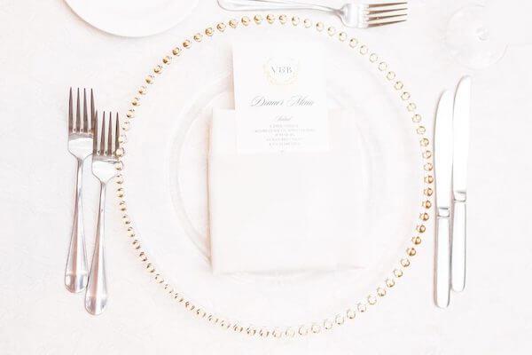 Innisbrook Resort wedding – Palm Harbor wedding – gold beaded charger plates - custom wedding menu