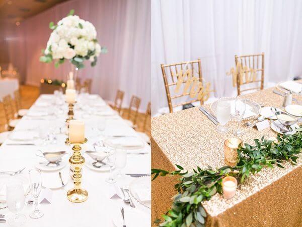 Innisbrook Resort wedding – Palm Harbor wedding – shimmering gold sweetheart table
