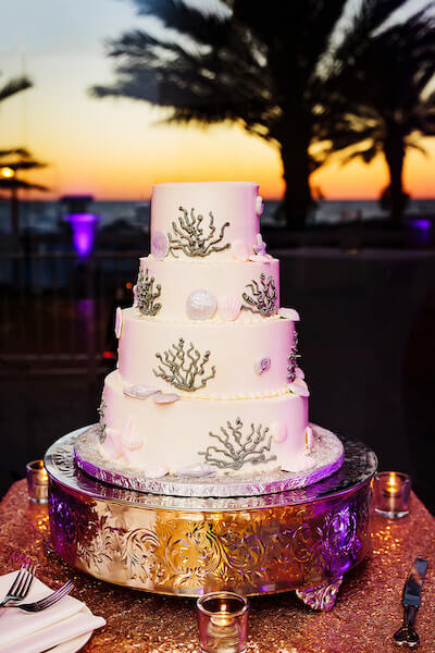 Clearwater Beach Wedding – Hyatt Regency Clearwater Beach – Clearwater Beach wedding planner - shell and coral wedding cake