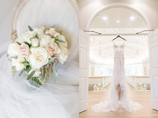 Harborside Chapel – Harborside Chapel wedding ceremony – Palm Harbor wedding – pink and white rose bouquet - lace wedding gown