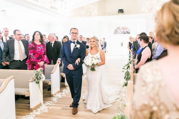 Harborside Chapel – Harborside Chapel wedding ceremony – Palm Harbor wedding – bride escorted by her brother