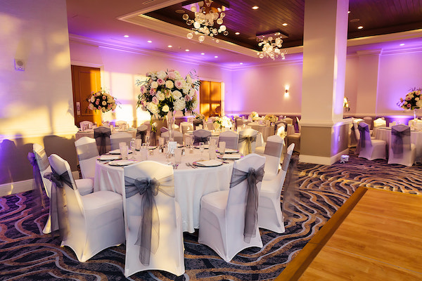 Clearwater Beach Wedding – Hyatt Regency Clearwater Beach – Clearwater Beach wedding planner - wedding reception - silver pink and white wedding decor