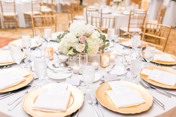 Innisbrook Resort wedding – Palm Harbor wedding – gold charger plates - pink and white centerpiees
