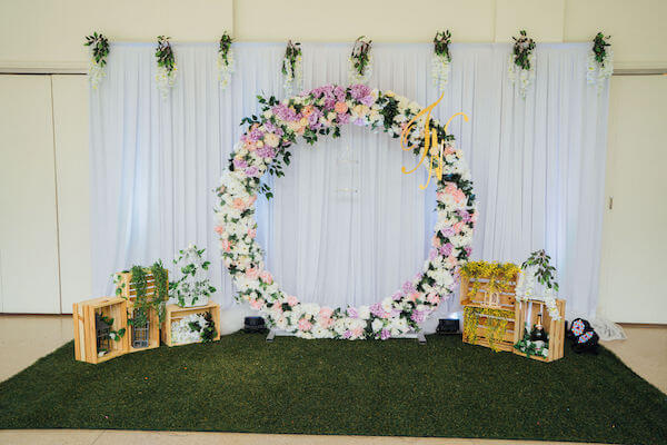 Tampa wedding planner- Special Moments Event Planning – Tampa Garden Club wedding - round floral photo backdrop