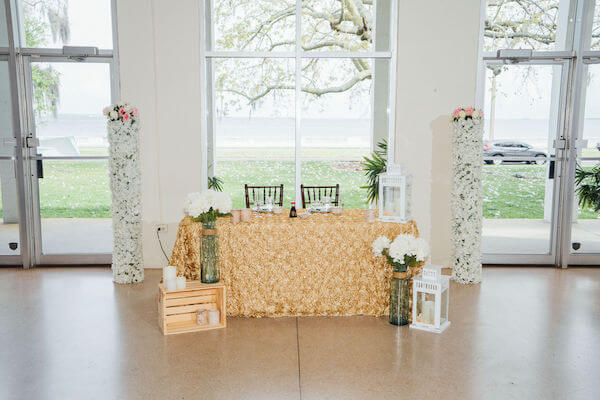 Tampa wedding planner- Special Moments Event Planning – Tampa Garden Club wedding - sweetheart table - gold linen